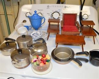 Child's Revere Ware cooking set; mid-century doll furniture