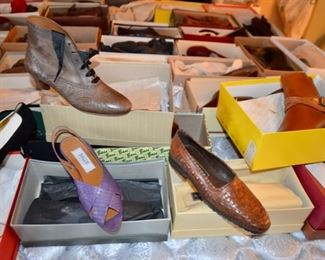 huge selection of lady's shoes (many new in box) most size 7 - 7.5 including:  Cole Haan, Bally, Perry Ellis, Andrea Pfister, Bass, Christian Dior,  Manolo Blahnik, Joyce, Walter Steiger, St. John, Ferragamo, Anne Klein, J. Peterman Co., Joan & David, Pierre Hardy, Bruno Magli, Via Spiga, Bandolino