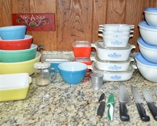 "Pyrex, Corning ""Cornflower"" casserole dishes, Tupperware butterfly bowls"