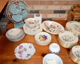 metal GE fan; Johnson Bros. china, paint decorated china plates, Tiffany & Co. bowl