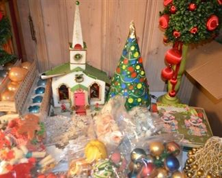 1950s  styrofoam church, Christmas tree motion lamp; bag lots of vintage ornaments, old wrapping paper