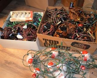 box lots of vintage string lights