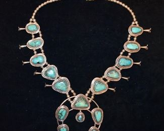 Vintage sterling silver and turquoise Navaho necklace (marked Gomez Sterling). Purchased from Neiman Marcus Austin Texas store in 1978. $1,600