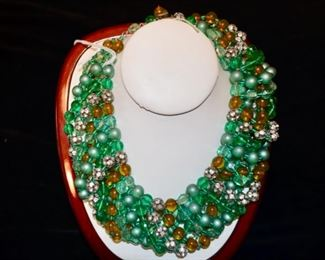Austrian green glass, crystal torsade necklace.  Mariam Haskell.  $400