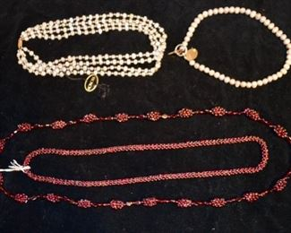 Honora pearl necklace, pearl necklace; garnet torsade necklaces
