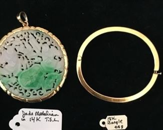 Carved jade medallion pendant in 14k gold bezel SOLD; 18k gold banglen$650