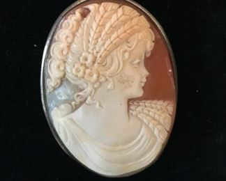 Signed cameo brooch / pendant in sterling silver. $450