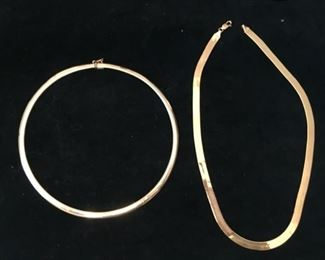 14k gold necklaces both marked Italy. Left is 21.5g $900.  Right is 35g $1,600.