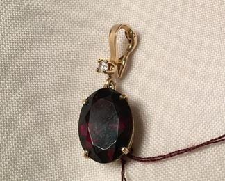 12k garnet pendant w/diamond $625