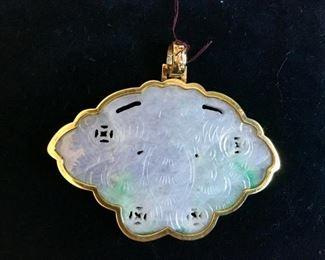 antique white carved jade medallion in 14k bezel $425