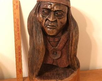 """Carved cypress knee Indian.  About 20""""."""