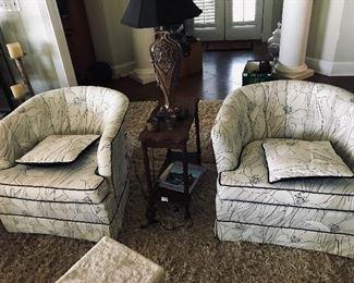 Pair of Retro Barrel Chairs -- $210