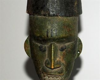 [20] ATTRIBUTED AS A CHOWKE ANCESTOR STANDING FIGURE PLOYCHROME WITH PAINTED SCARIFICATION ~ HEADDRESS ~ FACIAL HAIR
