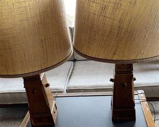 "Pair vintage A. Brandt Ranch Oak lamps pair Measure 15"" tall $500"