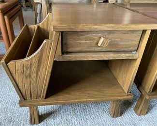 Pair A. Brandt Ranch Oak Side Tables Magazine Holders $350