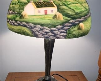 reverse painted lamp, not antique