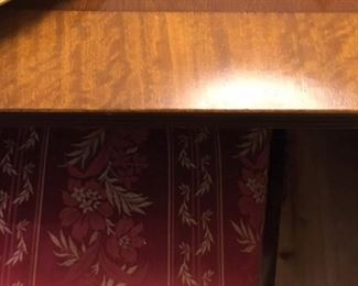 #003, Detail dining table w/satinwood edge, and detail of fabric on #004, Set of 8 Chippendale-style chairs