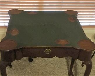 #393, Top detail, antique mahogany game table