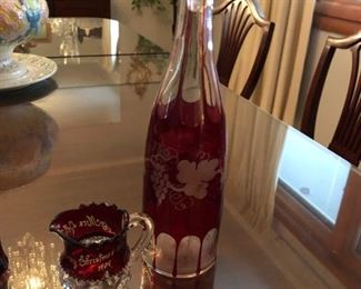 Pair of Red to Clear Wine decanter and creamer