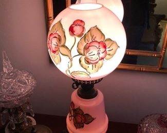 Antique hand painted 3 way Lantern Lamp