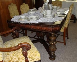 GORGEOUS ANTIQUE TABLE WITH CHAIRS - WE HAVE THE MATCHING SIDEBOARD AND CHINA CABINET (SEE NEXT 3 PHOTOS)