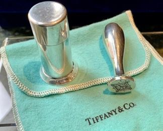 "pair $550 Tiffany pot sander & wax seal Sterling silver Total weight 40.6g Pounce Pot Sander stamped ""Tiffany maker""; ""925""; 23670L Circa 1889 2 inches high Wax seal marked ""Tiffany & Co"" ""sterling"" and has a Griffon Figural stamp/seal. 2.25 in high"