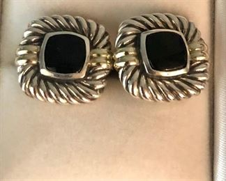 $350 David Yurman sterling silver and 14k gold onyx Albion collection cufflinks