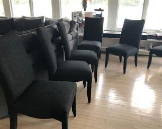 Set of 8 black fabric decorator dining chairs