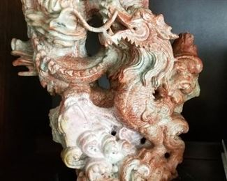 Carved Asian Dragon Statue