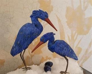Carved Lapis Cranes