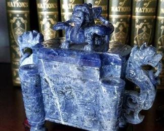 Carved Stone Lapis Dragon Box