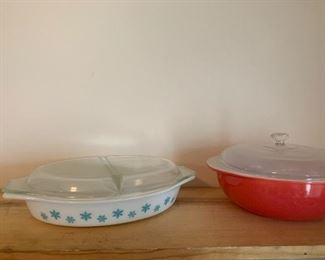 Vintage Pyrex white turquoise snowflake divided casserole and Vintage red Pyrex round casserole