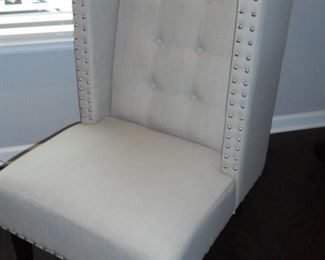 Contemporary high back chair w/nail heads