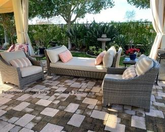 Restoration Hardware Del Mar DayBed and 2 Chairs with Ottoman