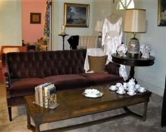 VINTAGE BUTTON BACK SOFA, COFFEE TABLE AND DUNCAN PHYFE DRUM TABLE