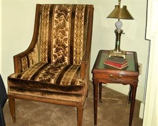 VELVET LADIES CHAIR AND CURIO DISPLAY TABLE