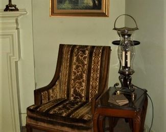 VELVET LADIES CHAIR AND 3 STACK CARVED LEG TABLES