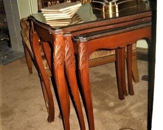 3 STACK CARVED LEG TABLES