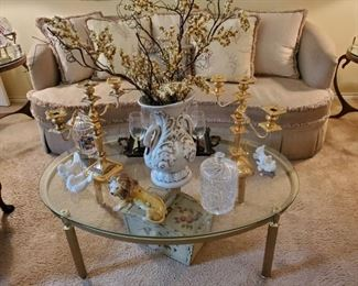 OVAL BRASS & GLASS COFFEE TABLE...ELEGANT SOFA