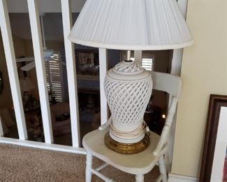 OLD CHILD'S CHAIR & WHITE LAMP