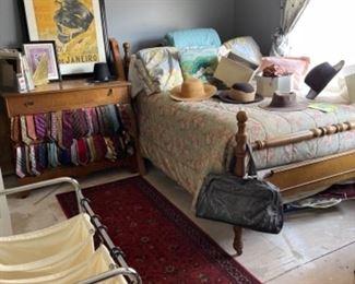 Portable separation laundry basket Burlewood dresser men's ties men's clothes men's hats four poster bed