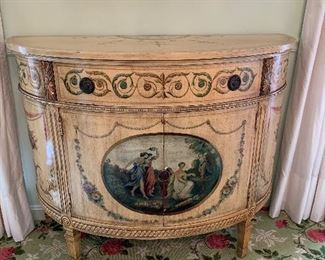 "Painted demilune console cabinet in great condition. 43.5"" wide x 19"" d x 34""tall.  Price $750"