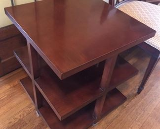 """$195 - Baker  Furniture """"Presidio"""" 3 tier table. 21.5"""" square, 24"""" high. With silver metal caps on feet. Good condition. Call or text for more pics. We also have the matching rectangular coffee table (photo coming)"""