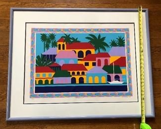 """$75 -"""" Waterfront"""" framed silkscreen by Virgin Islands artist M. Lisa Etre, edition of 95, signed & titled in pencil. Framed size 29.5"""" x 36"""". Includes artist bio"""