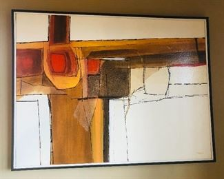 "$145 - Abstract oil painting on canvas, 25"" x 33, signed ""Denton 1970"" lower right."