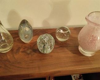 3 Signed Paperweights, signed pink thick glass vase