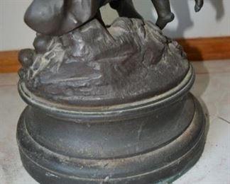PLL #1 Auguste Moreau La Parure Du Printemps, Figure of Woman with Two Cherubs, Early 20th Century Patinated Bronze with Bronze Socle Sculpture Signed