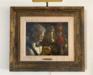 """Donald Zolan """"Puppet Craftsman"""" oil 10""""x13.5"""" $600  **CALL (847) 630-1009 TO PURCHASE**"""