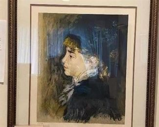 """Auguste Renoir """"Femme Au Chapeau Bleu"""" original lithograph, signed with Renoir seal - signature in plate and numbered 69/250 (includes authenticity singed by Paul Renoir) $500  **CALL (847) 630-1009 TO PURCHASE**"""