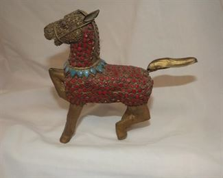 Item # J27  Red Brass Enamel Horse   $22.00